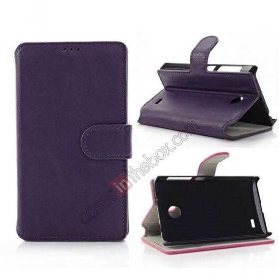 wholesale Fashion New Pu Leather Stand Case for Nokia X With Card Slots - Purple