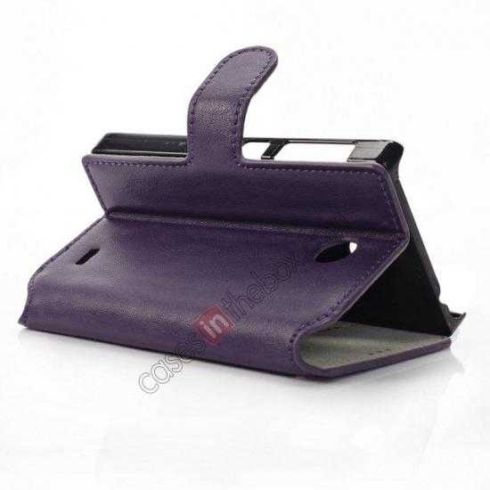 top quality Fashion New Pu Leather Stand Case for Nokia X With Card Slots - Purple