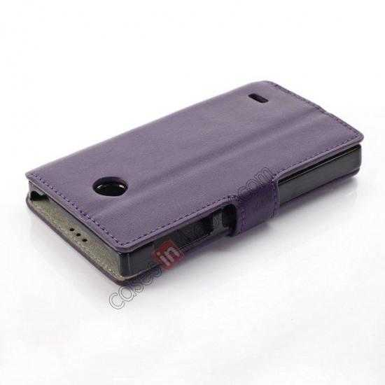 best price Fashion New Pu Leather Stand Case for Nokia X With Card Slots - Purple