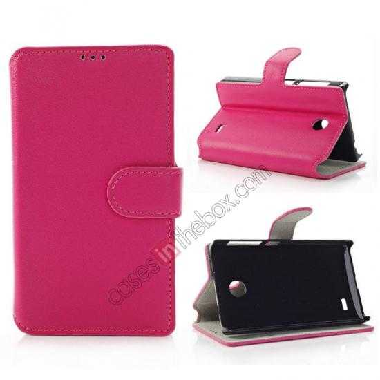 wholesale Fashion New Pu Leather Stand Case for Nokia X With Card Slots - Rose
