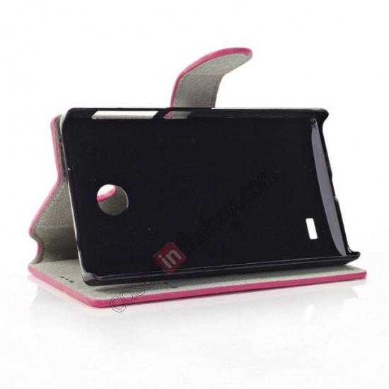 best price Fashion New Pu Leather Stand Case for Nokia X With Card Slots - Rose