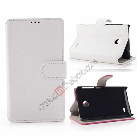 wholesale Fashion New Pu Leather Stand Case for Nokia X With Card Slots - White
