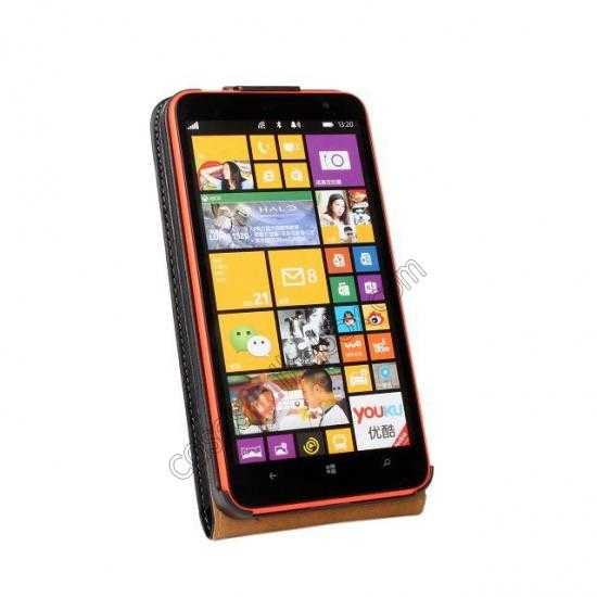 top quality Genuine leather Vertical Flip Case Cover For Nokia Lumia 1320 - Black