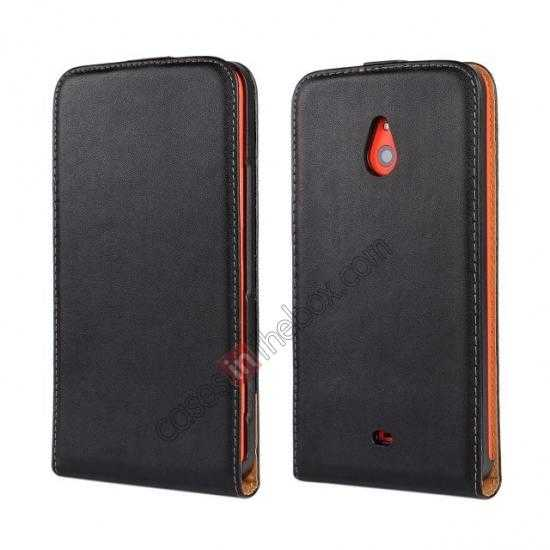 wholesale Genuine leather Vertical Flip Case Cover For Nokia Lumia 1320 - Black