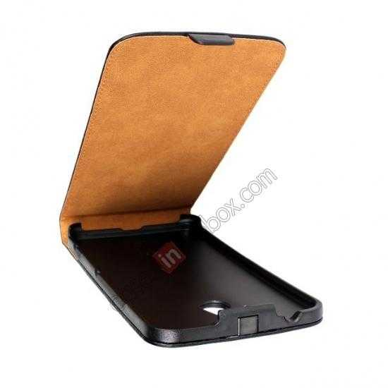 best price Genuine leather Vertical Flip Case Cover For Nokia Lumia 1320 - Black