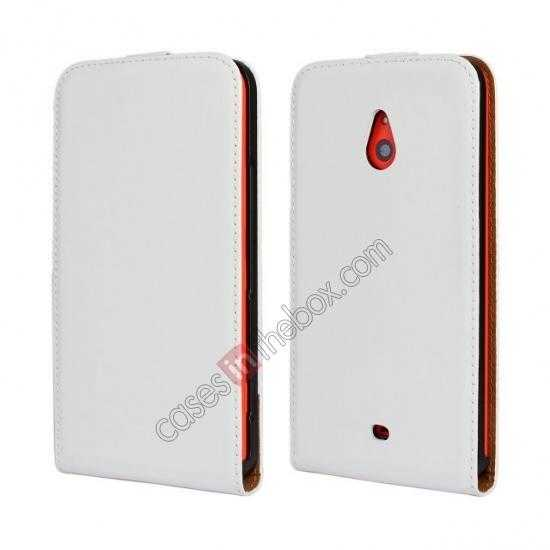 wholesale Genuine leather Vertical Flip Case Cover For Nokia Lumia 1320 - White