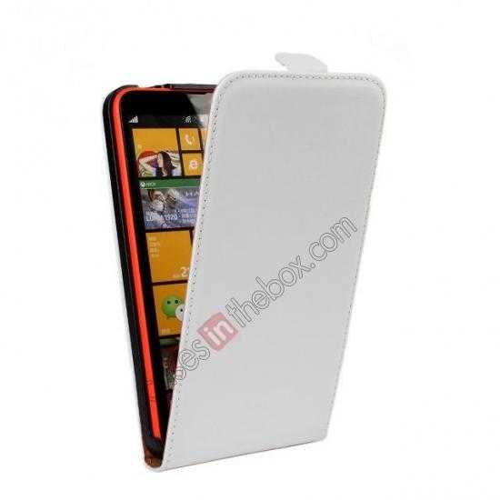discount Genuine leather Vertical Flip Case Cover For Nokia Lumia 1320 - White