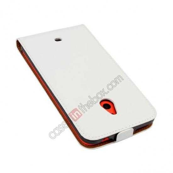 cheap Genuine leather Vertical Flip Case Cover For Nokia Lumia 1320 - White