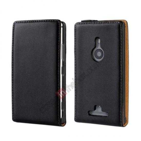 wholesale Genuine leather Vertical Flip Case Cover For Nokia Lumia 925 - Black