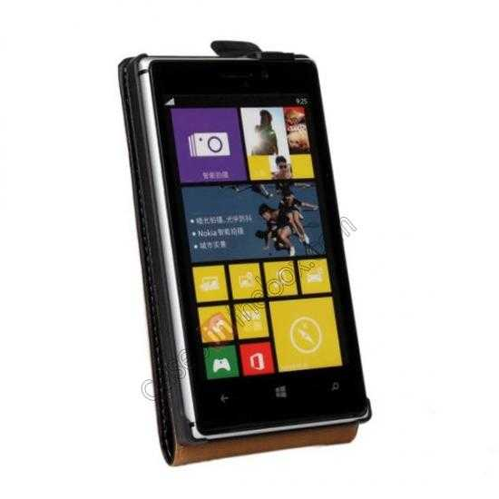 cheap Genuine leather Vertical Flip Case Cover For Nokia Lumia 925 - Black