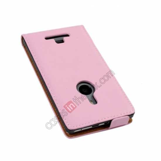 cheap Genuine leather Vertical Flip Case Cover For Nokia Lumia 925 - Pink