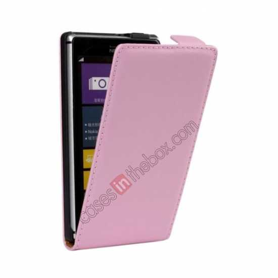 discount Genuine leather Vertical Flip Case Cover For Nokia Lumia 925 - Pink