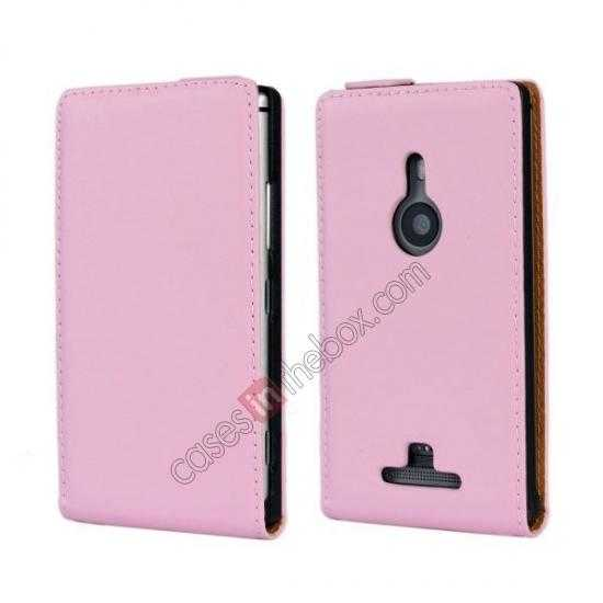 wholesale Genuine leather Vertical Flip Case Cover For Nokia Lumia 925 - Pink