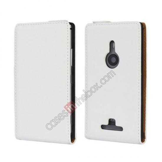 wholesale Genuine leather Vertical Flip Case Cover For Nokia Lumia 925 - White