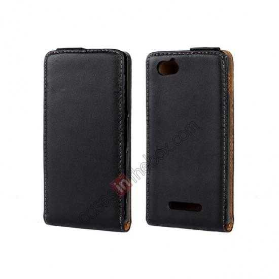 wholesale Genuine leather Vertical Flip Case Cover For Sony Xperia M - Black