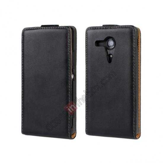 wholesale Genuine leather Vertical Flip Case Cover For Sony Xperia SP M35h - Black