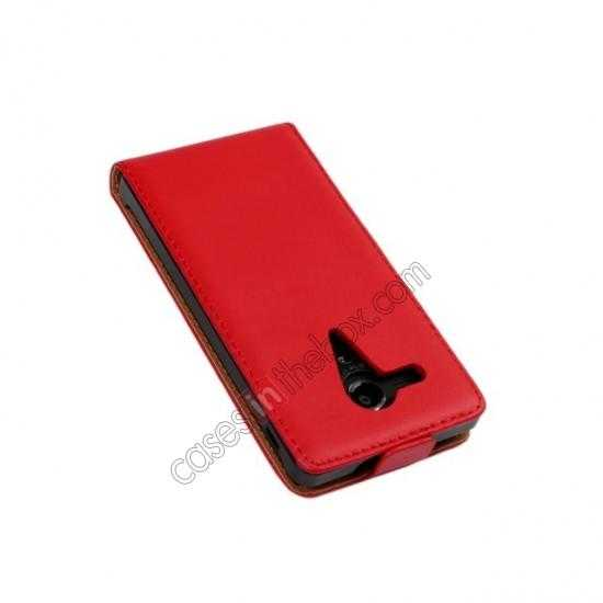 cheap Genuine leather Vertical Flip Case Cover For Sony Xperia SP M35h - Red