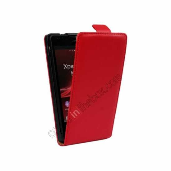 discount Genuine leather Vertical Flip Case Cover For Sony Xperia SP M35h - Red