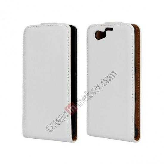 wholesale Genuine leather Vertical Flip Case Cover For Sony Xperia Z1 Compact(M51W) - White