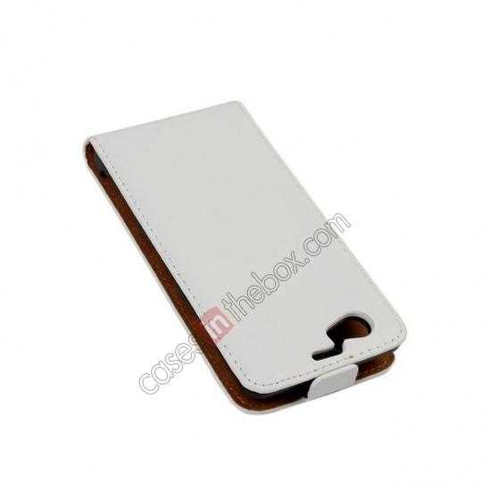 discount Genuine leather Vertical Flip Case Cover For Sony Xperia Z1 Compact(M51W) - White
