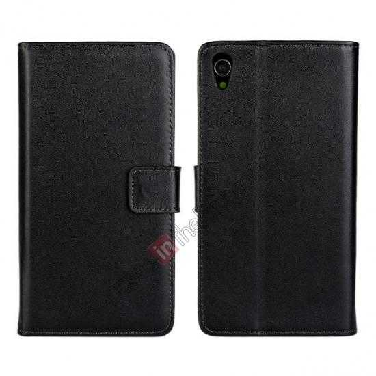 wholesale Genuine Leather Wallet Flip Case Cover For Sony Xperia Z2 - Black