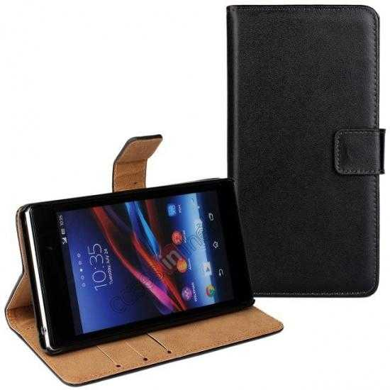 discount Genuine Leather Wallet Flip Case Cover For Sony Xperia Z2 - Black
