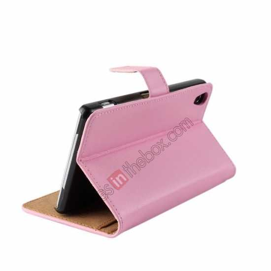 cheap Genuine Leather Wallet Flip Case Cover For Sony Xperia Z2 - Pink