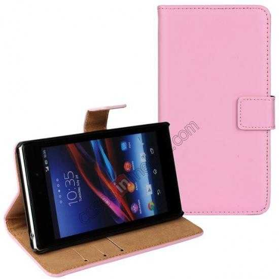 discount Genuine Leather Wallet Flip Case Cover For Sony Xperia Z2 - Pink