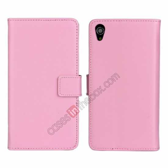 wholesale Genuine Leather Wallet Flip Case Cover For Sony Xperia Z2 - Pink