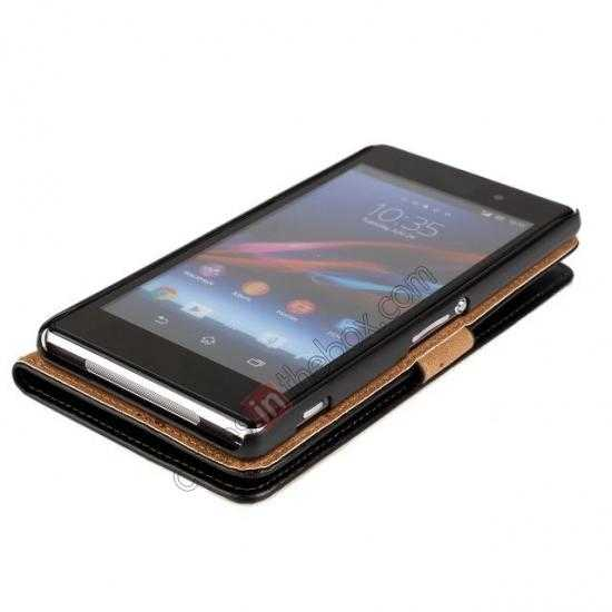 top quality Genuine Leather Wallet Flip Case Cover For Sony Xperia Z2 - Pink