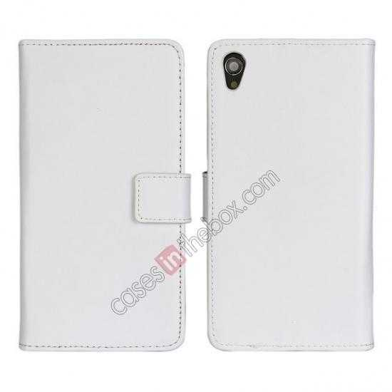 wholesale Genuine Leather Wallet Flip Case Cover For Sony Xperia Z2 - White