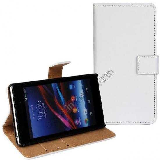 discount Genuine Leather Wallet Flip Case Cover For Sony Xperia Z2 - White