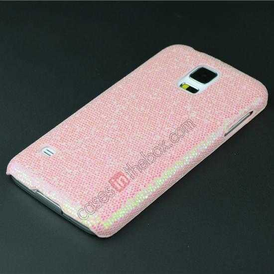 cheap Glitter Evening Dress Pattern Hard Case Cover For Samsung Galaxy S5 - Light Pink