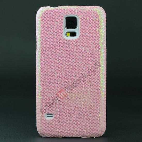 wholesale Glitter Evening Dress Pattern Hard Case Cover For Samsung Galaxy S5 - Light Pink