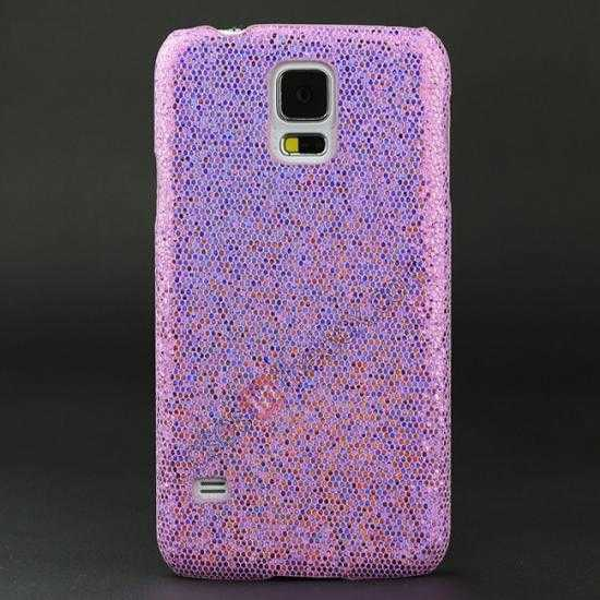 wholesale Glitter Evening Dress Pattern Hard Case Cover For Samsung Galaxy S5 - Light Purple