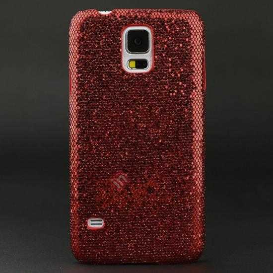 wholesale Glitter Evening Dress Pattern Hard Case Cover For Samsung Galaxy S5 - Red