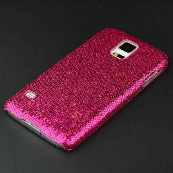 cheap Glitter Evening Dress Pattern Hard Case Cover For Samsung Galaxy S5 - Rose red