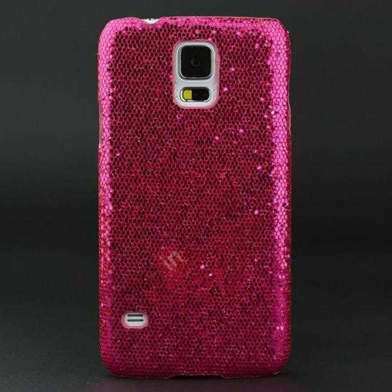 wholesale Glitter Evening Dress Pattern Hard Case Cover For Samsung Galaxy S5 - Rose red