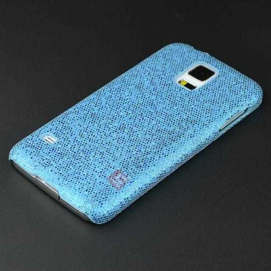 cheap Glitter Evening Dress Pattern Hard Case Cover For Samsung Galaxy S5 - Sky blue