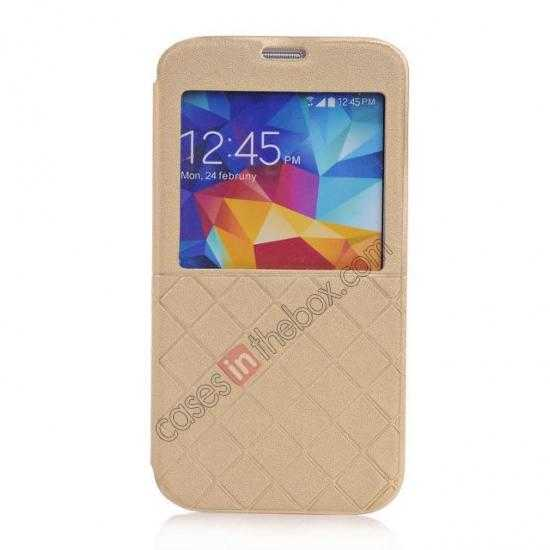 wholesale Grid Style Leather Stand Case for Samsung Galaxy S5 with View Window - Champagne