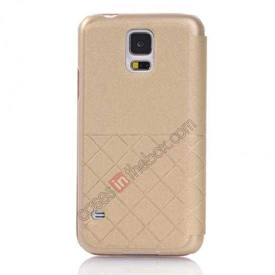 discount Grid Style Leather Stand Case for Samsung Galaxy S5 with View Window - Champagne