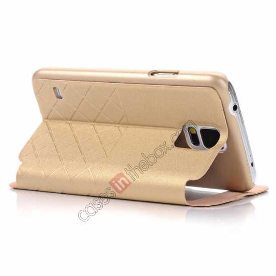 cheap Grid Style Leather Stand Case for Samsung Galaxy S5 with View Window - Champagne