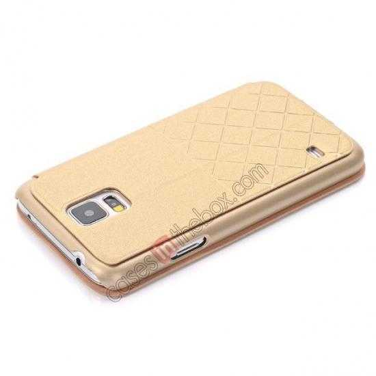 top quality Grid Style Leather Stand Case for Samsung Galaxy S5 with View Window - Champagne