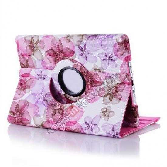 cheap Happy Flower 360 Degree Rotating Leather Stand Case for iPad Air