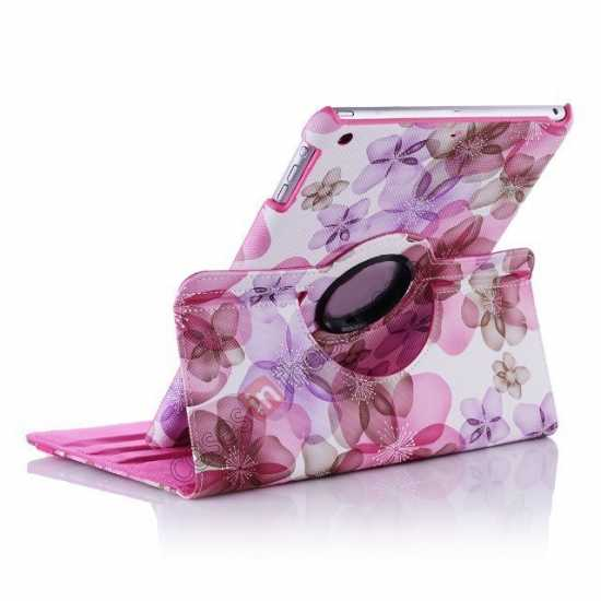 best price Happy Flower 360 Degree Rotating Leather Stand Case for iPad Air