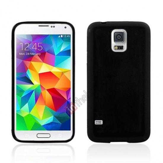 wholesale Hard Back Skin Cover Silicone Case for Samsung Galaxy S5 - Black