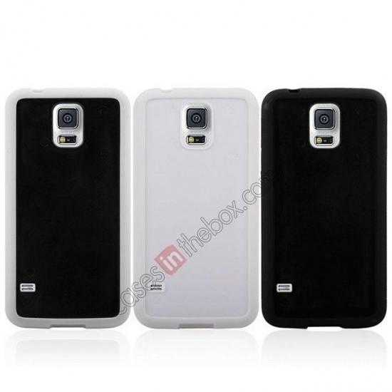 low price Hard Back Skin Cover Silicone Case for Samsung Galaxy S5 - Black