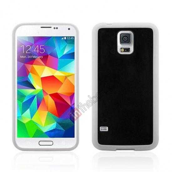 wholesale Hard Back Skin Cover Silicone Case for Samsung Galaxy S5 - White&Black