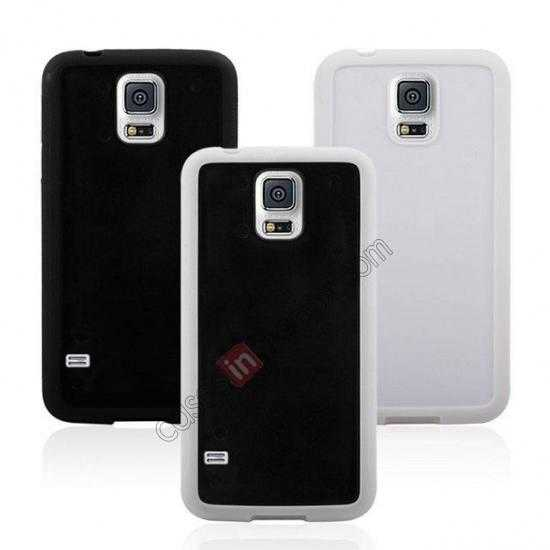 top quality Hard Back Skin Cover Silicone Case for Samsung Galaxy S5 - White&Black
