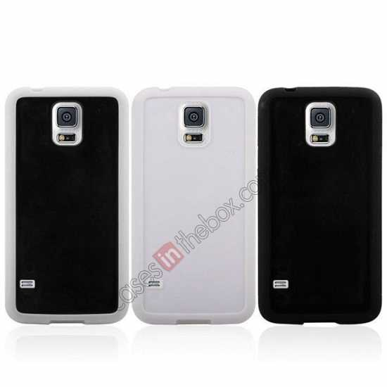 best price Hard Back Skin Cover Silicone Case for Samsung Galaxy S5 - White&Black